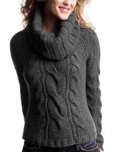Women's Hand Knit Cowl Neck Sweater – The Best Ideas Sweater Knitting Patterns, Knitting Designs, Hand Knitting, Cool Sweaters, Cable Knit Sweaters, Sweaters For Women, Pull Torsadé, Knit Cowl, Soft Summer