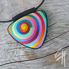 Rainbow pendant by Eva Hašková, polymer clay jewelry Polymer Clay Canes, Polymer Clay Necklace, Polymer Clay Pendant, Fimo Clay, Polymer Clay Projects, Polymer Clay Creations, Polymer Clay Beads, Clay Crafts, Fimo Ideas