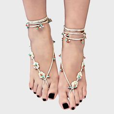 Floral Braided & Beaded Boho Barefoot Sandals - Ivory