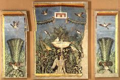 A Magnificent Roman Wall Painting in the Fourth Style Depicting a Garden |