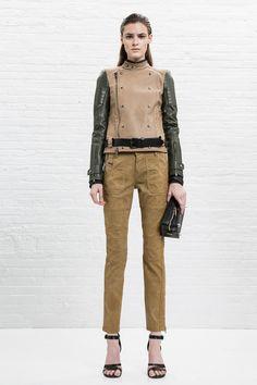 Biker jacket with Cappuccino color denim pants in Masculine Feminine Style | Diesel Black Gold Resort 2013 #fashion