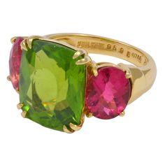 Seaman Schepps Pink Tourmaline & Peridot Gold Ring, 20th century