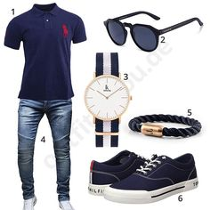 Blauer Herren-Style mit Poloshirt und Armband (m0452) #outfit #style #fashion #menswear #mensfashion #inspiration #shirt #cloth #clothing #männermode #herrenmode #shirt #mode #styling #sneaker #menstyle
