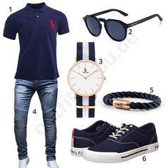 Herren-Outfit mit Ralph Lauren Poloshirt, Retro Sonnenbrille, Alienwork Armbanduhr, Merish Jeans, Fischer's Fritze Armband und Tommy Hilfiger Schuhen.