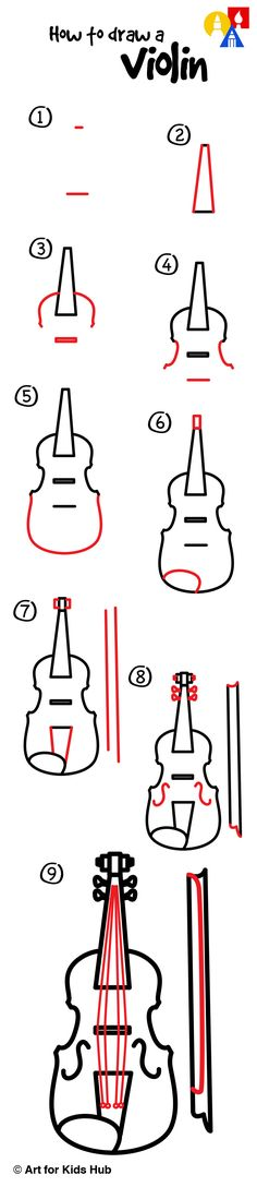 How to draw a violin.
