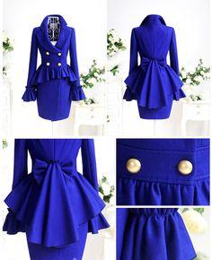 Royal Blue Lady Trendy Double Breasted Ruffle Skirt Luxury Woollen Coat