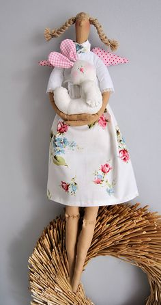 Tilda doll - angel, hugs little bunny. $32.00, via Etsy.