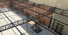 Roof Truss Design, Grill Door Design, Garage Design, Beam Structure, Steel Structure Buildings, Metal Buildings, Main Gate Design, House Gate Design, Welded Metal Projects