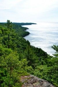 Rising abruptly to a peak height of nearly 600 feet above the water from the shoreline of Lake Superior in the Upper Peninsula of Michigan, Bare Bluff is the most prominent landmark of the Keweenaw Peninsula's south shore and is one of the Keweenaw's most scenic hikes. *Click to read more.