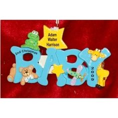 Baby Fun Blue, B-A-B-Y - Personalized First Christmas Ornament