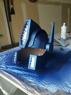 Optimus Prime helmet painted