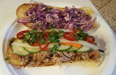 Fresno Chili, Garlic Aioli, English Cucumber, Spice Rub, Bbq Pork, Kewpie, Barbecue Sauce, Cilantro, Baguette