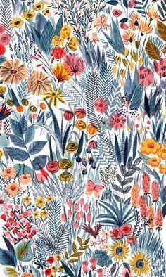 Illustration fleurie (c) Mouni Feddag Art Floral, Motif Floral, Floral Prints, Art Prints, Botanical Prints, Floral Print Background, Canvas Prints, Lino Prints, Retro Floral