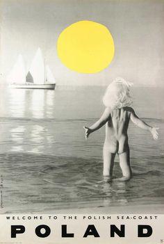 Vintage Travel Poster - Poland - Welcome to the Polish Sea Coast - by Zbigniew Kaja and Grażyna Wyszomirska Poster Ads, Poster Prints, Editorial Design, Illustrations Vintage, Polish Posters, Vintage Travel Posters, Cool Posters, Graphic Design Inspiration, Vintage Advertisements