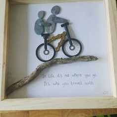 My Wifey is so clever! She made me this for my #birthday #homemade #art #artistic #driftwood #pebbles #picture #sheshouldsellthem