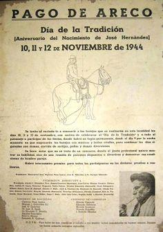 6° FIESTA DE LA TRADICIÓN, 1944 Para ese año Areco había logrado darle continuidad a la fiesta después que La Plata solo lo hiciera en 1940. El dibujo lineal de Alberto Güiraldes aparece y pese a alguna pausa sera el sello que distinga a los afiches de La Tradición.