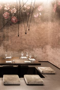interior design, restaurant, bar, wood, industrial floor, drop-light, dining area, Japanese style, floral wallpaper, concrete walls, Enso Sushi & Grill by DIA – Dittel Architekten