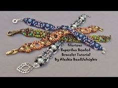 Beading tutorial DIY - Pillow bracelet with Superduo / Twin, Swarovski bicones & seed beads - YouTube