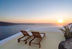 Santorini deckchairs and sunset