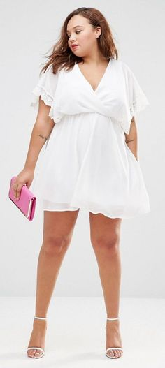 Plus Size Skater Dress With Lace Sleeve