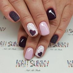 Image about girl in Nails by ⚜ For_your_Soul ⚜ - Uñas - Winter Nail Designs, Colorful Nail Designs, Nail Art Designs, Nails Short, Heart Nails, Winter Nails, Fun Nails, Nail Colors, Acrylic Nails