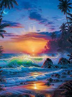 50 Beautiful Sunrise Sunset and Moon Paintings for your inspiration - Sunrise Painting, Moon Painting, Beautiful Moon, Beautiful Sunrise, Beautiful Places, Fantasy Kunst, Fantasy Art, Beautiful Paintings, Beautiful Landscapes