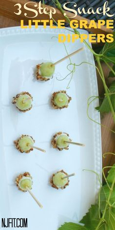 Little Grape Dippers 1.  Put grape on tooth pick 2. Dip in greek yogurt 3. Roll in crushed nuts & freeze