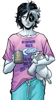 """""""My boyfriend was in X-Force and all he got me was this lousy T-Shirt"""" """"Domino - """"Like Ash From an Inferno"""" written by Gail Simone art by David Baldeon & Jesus Aburtov """" Domino Comics, Marvel Comics, Domino Marvel, Marvel Comic Universe, Comics Universe, Marvel Heroes, Comic Book Girl, Comic Books Art, Comic Art"""