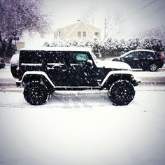 I can't decide if I like the extended cab, but I do love hard top jeep wranglers. & the snow just adds to the picture!