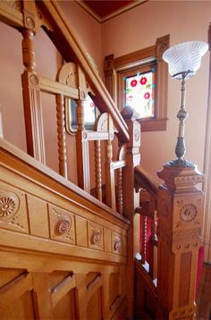 Historic Victorian for sale in Indianapolis with colorful front porch - 1226 Broadway St Indianapolis Indiana 3 Victorian Interiors, Victorian Architecture, Vintage Interiors, Victorian Homes, Small Foyers, Oak Doors, Stairway To Heaven, Old House Dreams, Beveled Glass