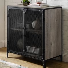 Williston Forge Bowser 2 Door Accent Cabinet by AllModern Vintage Industrial Furniture, Metal Furniture, Furniture Ideas, Reclaimed Furniture, Furniture Dolly, Furniture Outlet, Discount Furniture, Glass Front Cabinets, Metal Cabinets