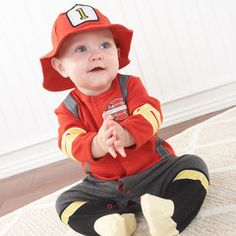"""Big Dreamzzz"" Baby Firefighter Two-Piece Layette Set in Firefighter-themed Gift Box (Personalizatio"