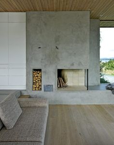 #concrete #fireplace in #summerhouse