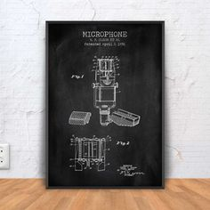 MICROPHONE patent print microphone poster microphone by PrintPoint