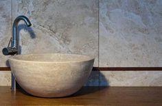 """Solid stone sink """"Tonda Chiaro"""" by Pietre di Rapolano $355"""