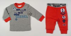 Diesel Baby Boys UBIAKYB 2 Piece Logo Pajamas with Red Trim