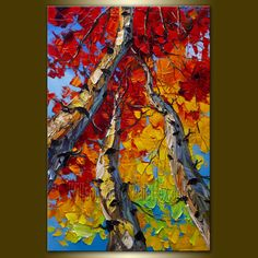 Original Textured Palette Knife Landscape Painting by willsonart, $255.00