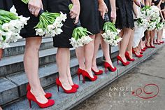 #red bridesmaids shoes black drsses white flowers