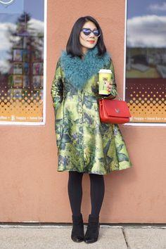 petite fashion winter street style new chic vintage coat dress + Prism sunglasses + teal fur wrap + LV bag + black booties