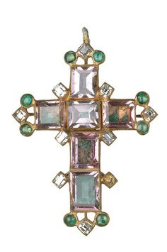 Pendant cross, gold, set with foiled and trap-cut spinels bordered by table-cut diamonds and cabochon emeralds; the back is enamelled in white decorated with black with an applied flower with two convex and two concave petals at the junction of the cross. Part of the Cheapside Hoard.