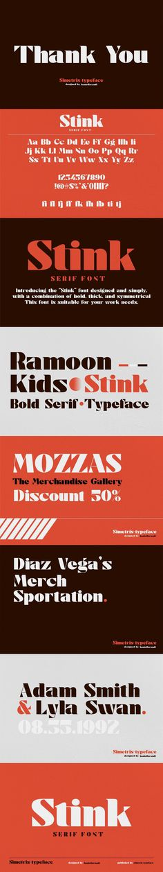 """Introducing the """"Stink"""" font designed elegantly and simply, with a combination of bold, thick, and symmetrical. This font is suitable for your work needs. Bold Serif Fonts, Serif Typeface, Uppercase And Lowercase, Punctuation, Design"""