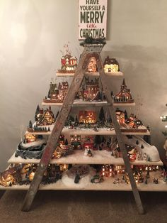 30 new Ideas for diy christmas village display ideas department 56 Christmas Tree Village Display, Diy Christmas Decorations For Home, Christmas Villages, Christmas Projects, Christmas Ideas, Ladder Christmas Tree, Lemax Christmas Village, Christmas Displays, Diy Christmas Village Accessories