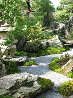 Collation of Green Front-yard & Backyard Landscaping Ideas Beautiful_ Peaceful Japanese_Gardens. A good example of how the layout shapes the … Japanese Garden Landscape, Japanese Rock Garden, Asian Landscape, Japanese Garden Design, Japanese Gardens, Contemporary Landscape, Backyard Layout, Backyard Landscaping, Landscaping Ideas