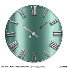 Shop Teal Aqua Mint Gray Grey Silver Roman Numbers Lux Large Clock created by luxury_luxury. Personalize it with photos & text or purchase as is! Aqua, Teal, Blue Gold, Dark Blue, Diy Clock, Large Clock, Roman, Numbers, Mint