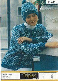 Isrose k 485 Norwegian Knitting, Knitting Machine Patterns, Crochet Hooks, Textiles, Hats, Sweaters, Craft Ideas, Fashion, Tejidos