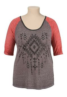 washed tribal print plus size baseball tee (original price, $29) available at #Maurices
