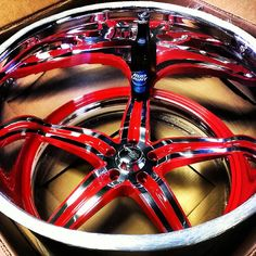 raceline sniper 5 wheels powder coated red deep lips