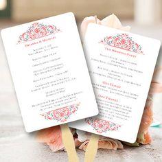 Wedding Program Fan Grace Coral & Gray  by WeddingTemplates, $10.00