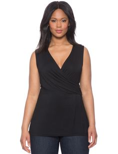 $50 - Draped Front Flare Top | Women's Plus Size Tops | ELOQUII