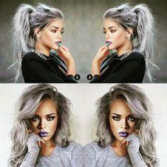 grey hair, Rihanna